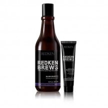 Set Shampoo Silver 300 ml + Crema Para Peinar Work Hard 30 ml - Redken Brews